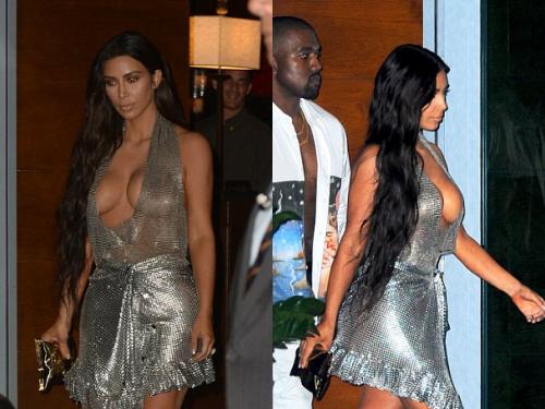 Kim kardashian với chiếc váy thiết kế không thể nóng hơn