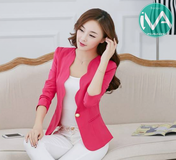 Áo khoác nữ màu hồng đẹp cho nàng công sở